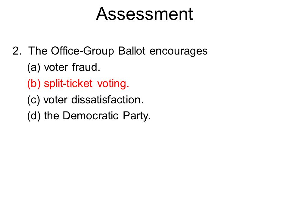 2. The Office-Group Ballot encourages (a) voter fraud.