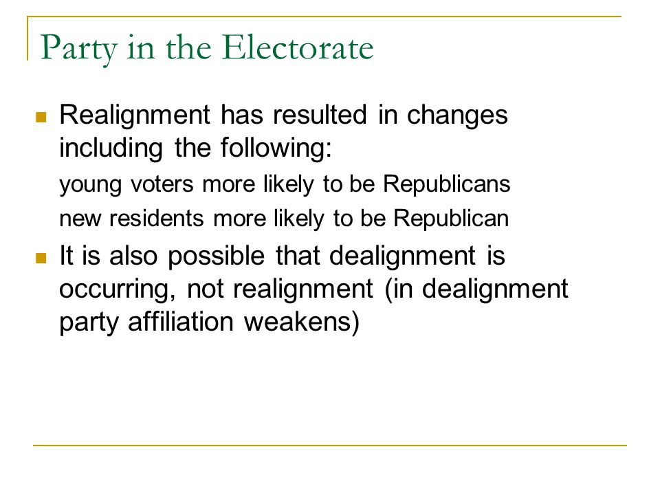 Party in the Electorate Realignment has resulted in changes including the following: young voters more likely to be Republicans new residents more lik