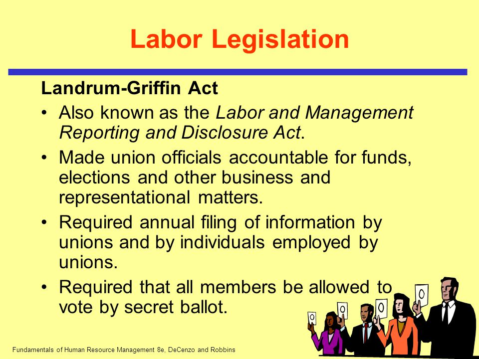 Fundamentals of Human Resource Management 8e, DeCenzo and Robbins Labor Legislation Landrum-Griffin Act Also known as the Labor and Management Reporti