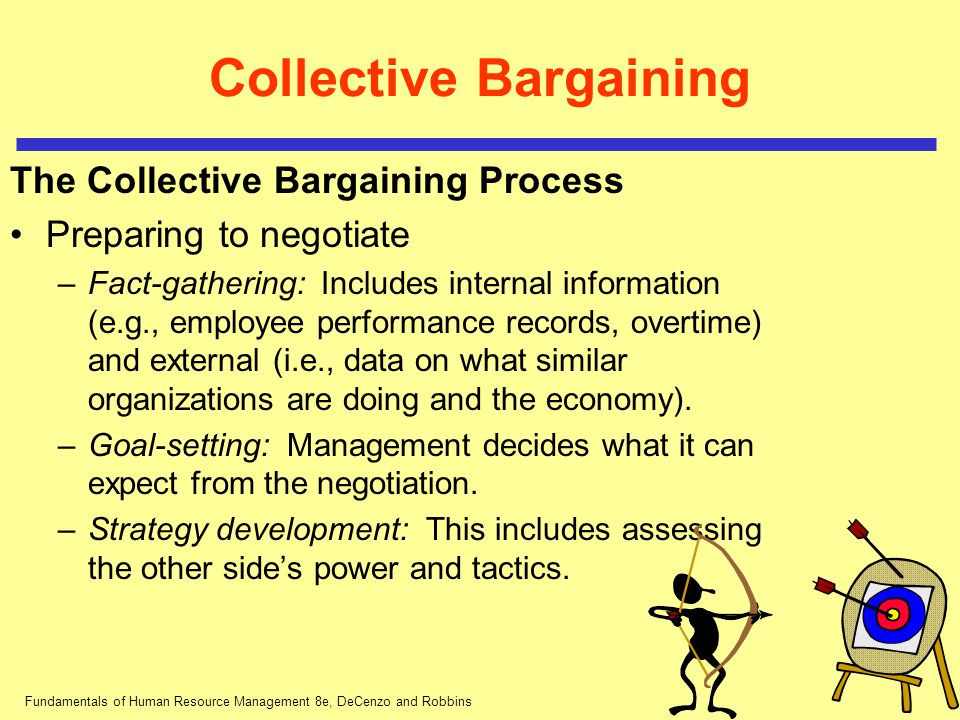 Fundamentals of Human Resource Management 8e, DeCenzo and Robbins Collective Bargaining The Collective Bargaining Process Preparing to negotiate –Fact