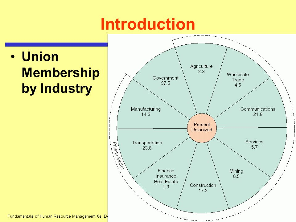 Fundamentals of Human Resource Management 8e, DeCenzo and Robbins Introduction Union Membership by Industry