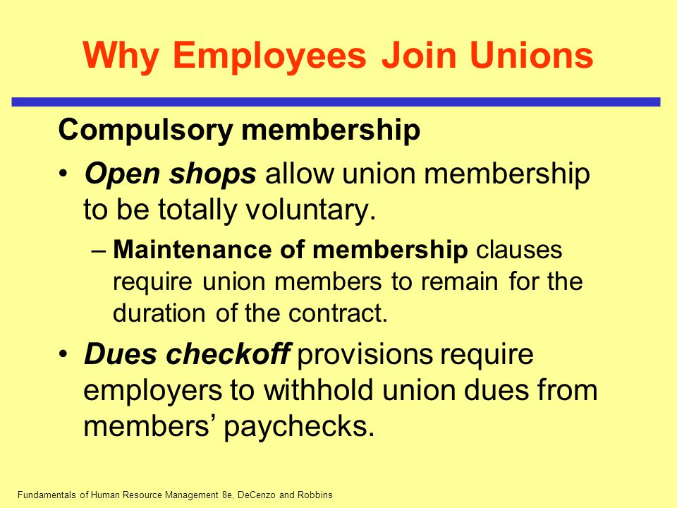 Fundamentals of Human Resource Management 8e, DeCenzo and Robbins Critical Issues for Unions Today Union membership: Where have the members gone.
