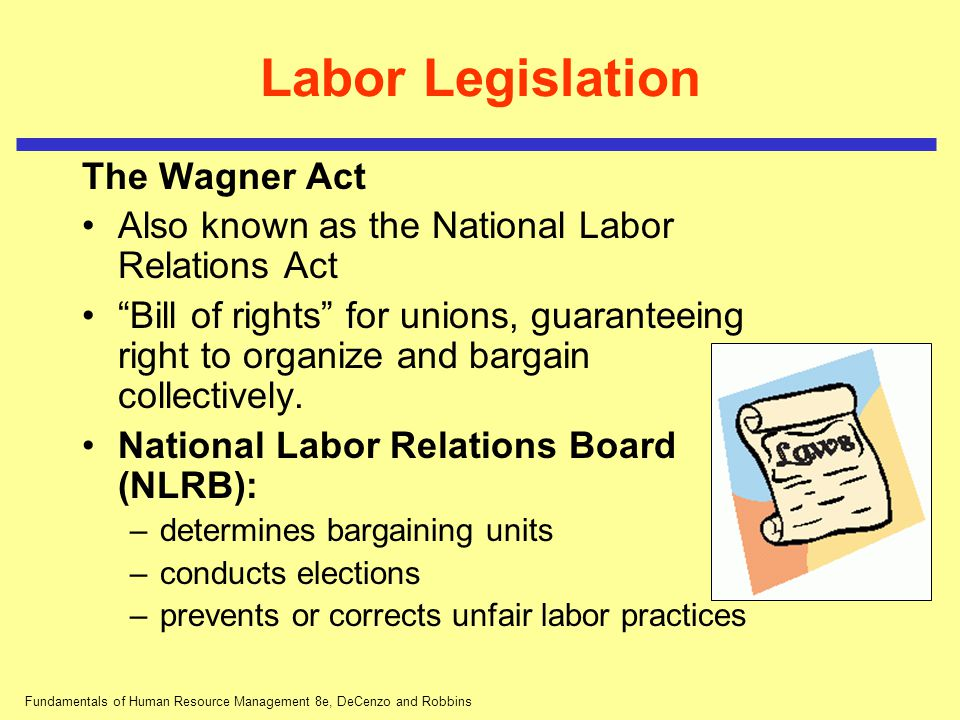 Fundamentals of Human Resource Management 8e, DeCenzo and Robbins Labor Legislation The Wagner Act Unfair labor practices include: –interfering with an employee's rights to bargain collectively –refusing to bargain collectively with employee representatives