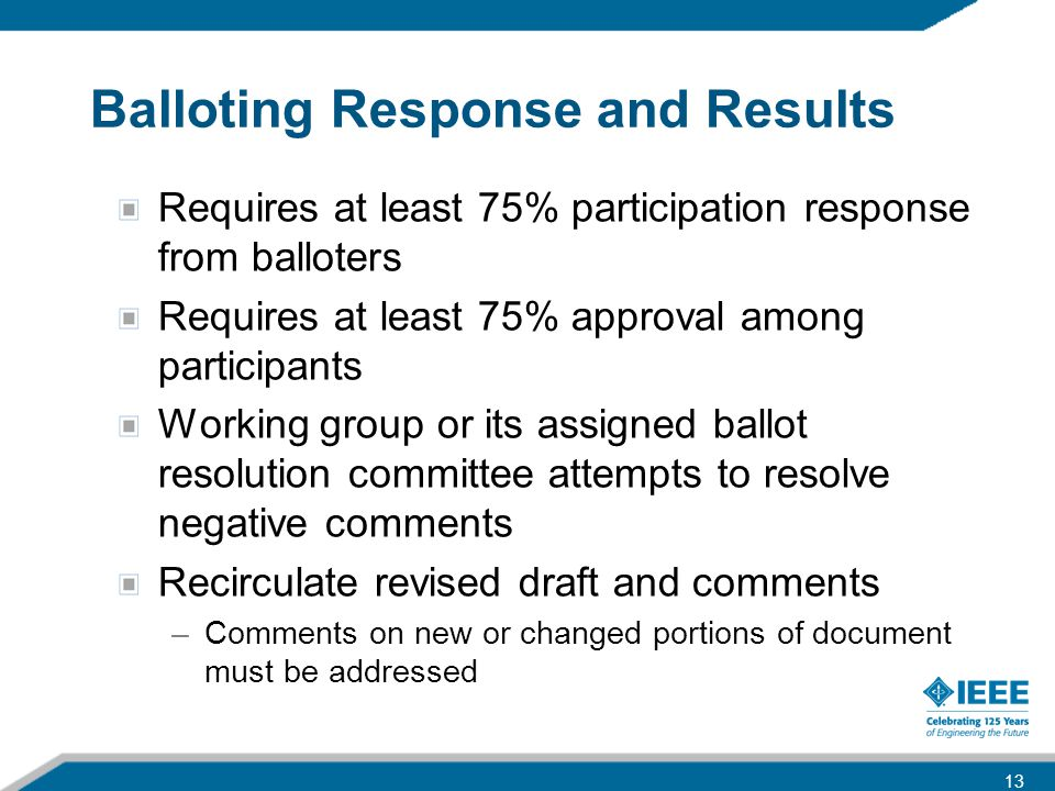 Balloting Response and Results Requires at least 75% participation response from balloters Requires at least 75% approval among participants Working g