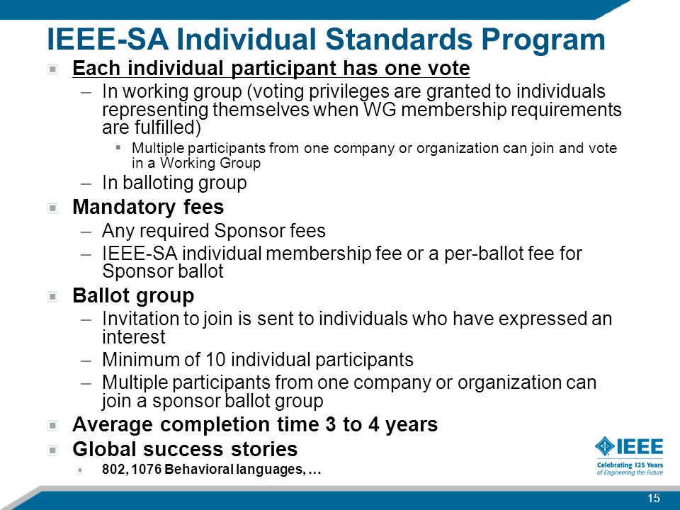 IEEE-SA Individual Standards Program Each individual participant has one vote –In working group (voting privileges are granted to individuals represen