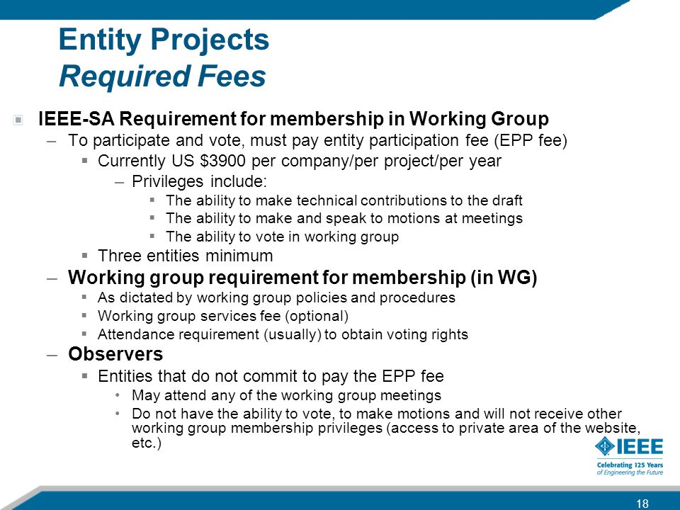 Entity Projects Required Fees IEEE-SA Requirement for membership in Working Group –To participate and vote, must pay entity participation fee (EPP fee