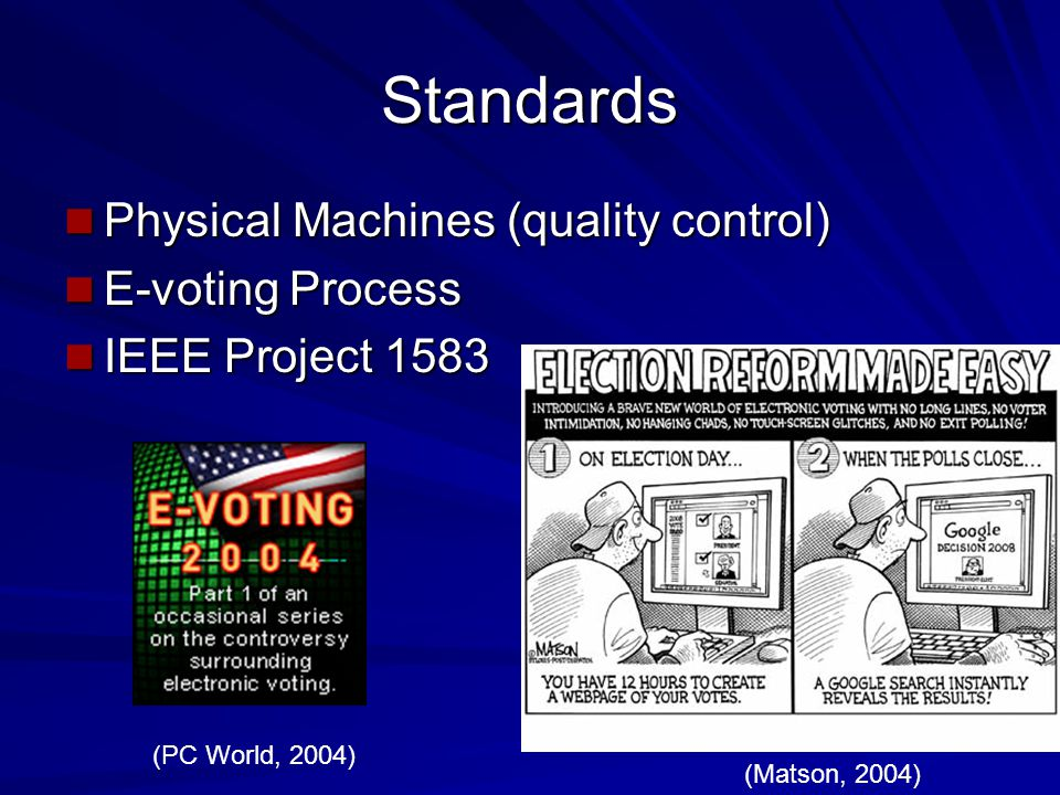 Standards Physical Machines (quality control) Physical Machines (quality control) E-voting Process E-voting Process IEEE Project 1583 IEEE Project 1583 (Matson, 2004) (PC World, 2004)