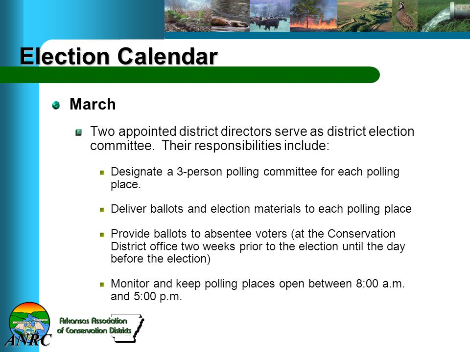 ANRC Election Calendar March Two appointed district directors serve as district election committee.