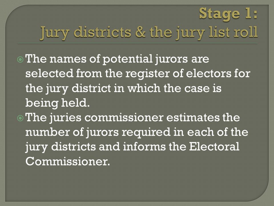  Members of the jury pool are selected for every case at random through a ballot.