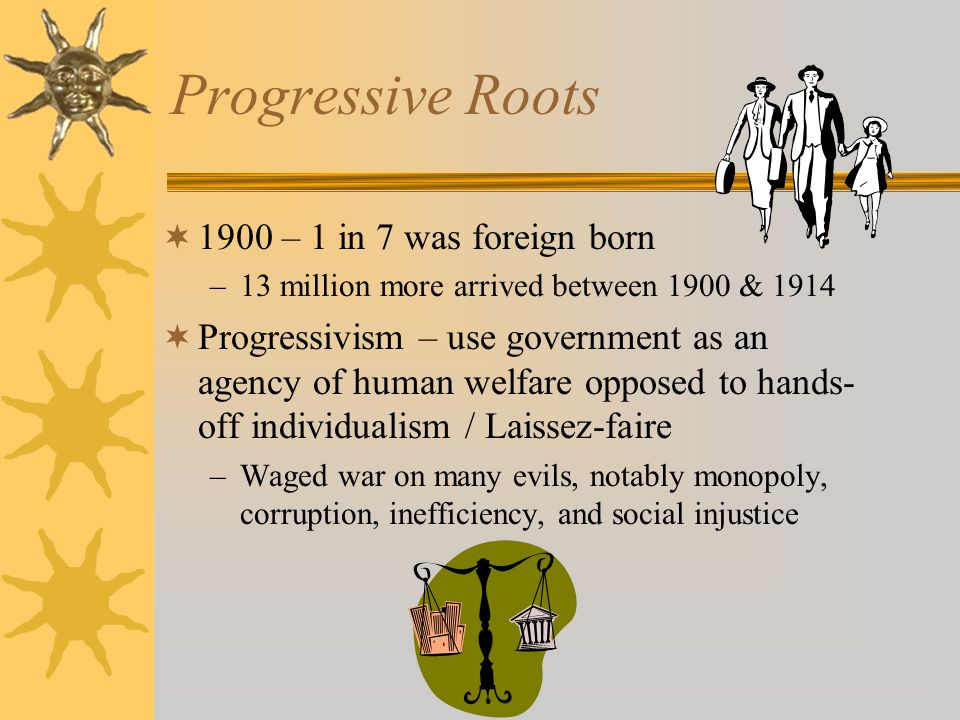 Progressive Roots  1900 – 1 in 7 was foreign born –13 million more arrived between 1900 & 1914  Progressivism – use government as an agency of human welfare opposed to hands- off individualism / Laissez-faire –Waged war on many evils, notably monopoly, corruption, inefficiency, and social injustice