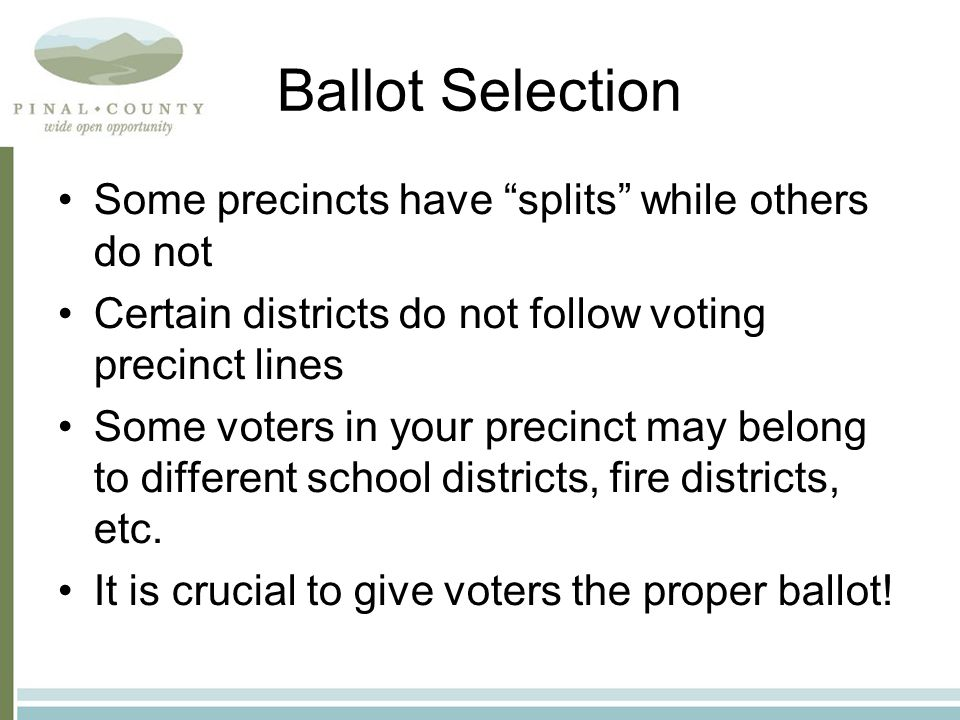 Total Ballots Cast Every precinct election board is responsible for maintaining a close watch on their voting machines Ballot counts should be periodically checked throughout the day On ballot reports, be sure to enter the from the ELECTION RESULTS REPORT , not the ELECTION ZERO REPORT