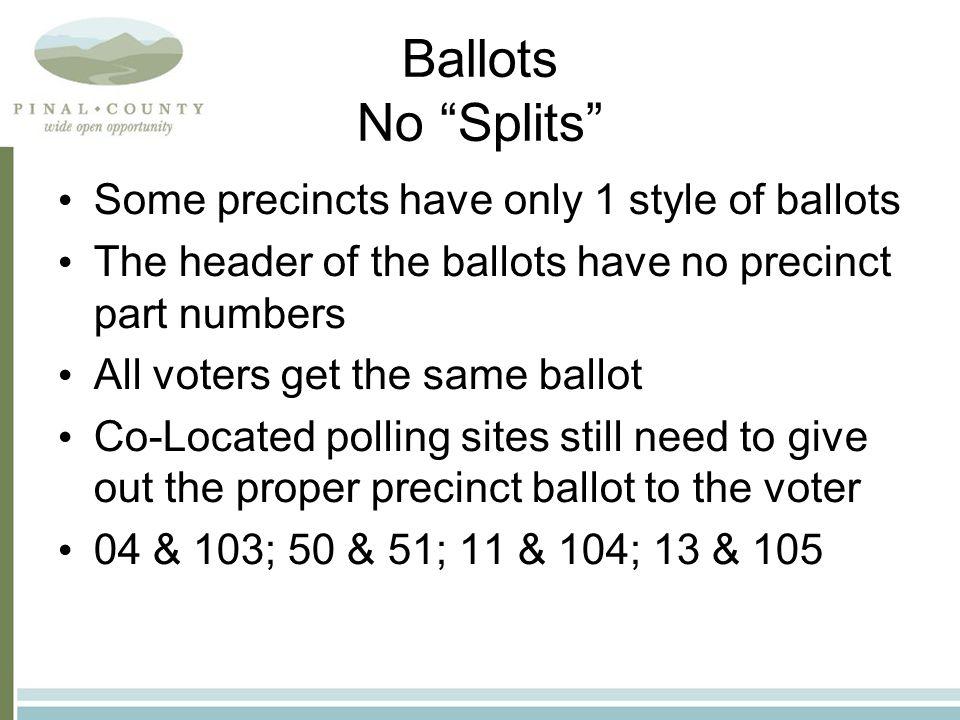 No Split Ballot Example No pct. part numbers, just the precinct name