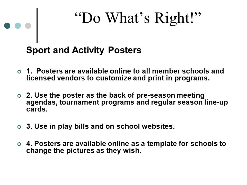 Do What's Right! Sport and Activity Posters 1.