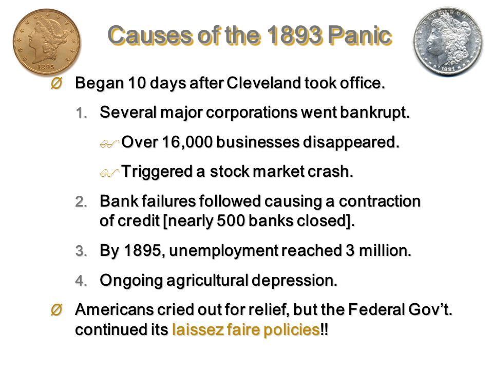 Major Problems in Cleveland's Second Term: First large-scale depression in the new industrial economy.