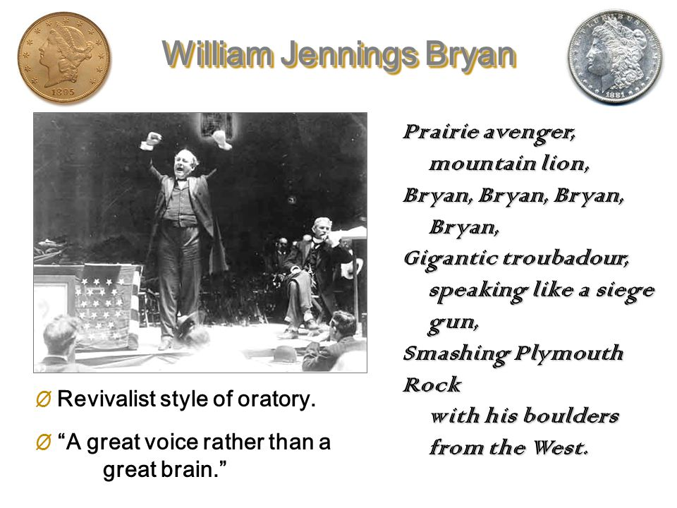 William Jennings Bryan (1860-1925) The Great Commoner – 36 years old DEMOCRAT POPULIST
