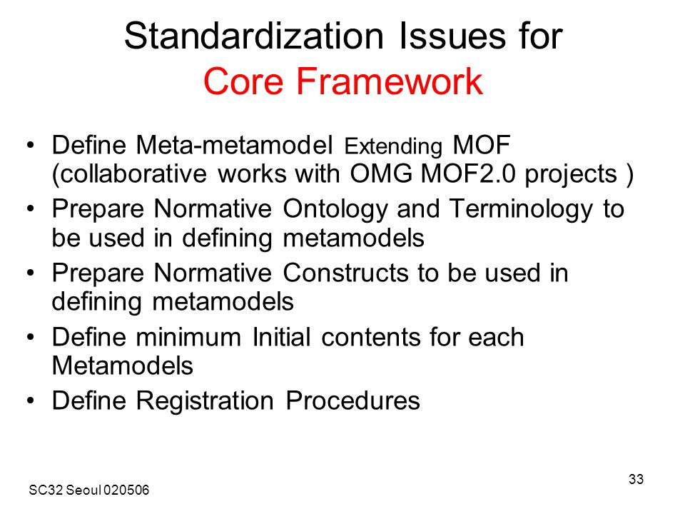 SC32 Seoul 020506 33 Standardization Issues for Core Framework Define Meta-metamodel Extending MOF (collaborative works with OMG MOF2.0 projects ) Prepare Normative Ontology and Terminology to be used in defining metamodels Prepare Normative Constructs to be used in defining metamodels Define minimum Initial contents for each Metamodels Define Registration Procedures