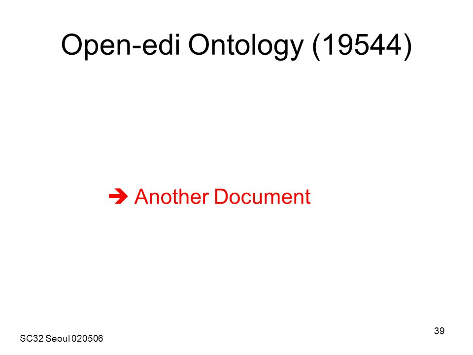 SC32 Seoul 020506 39 Open-edi Ontology (19544)  Another Document