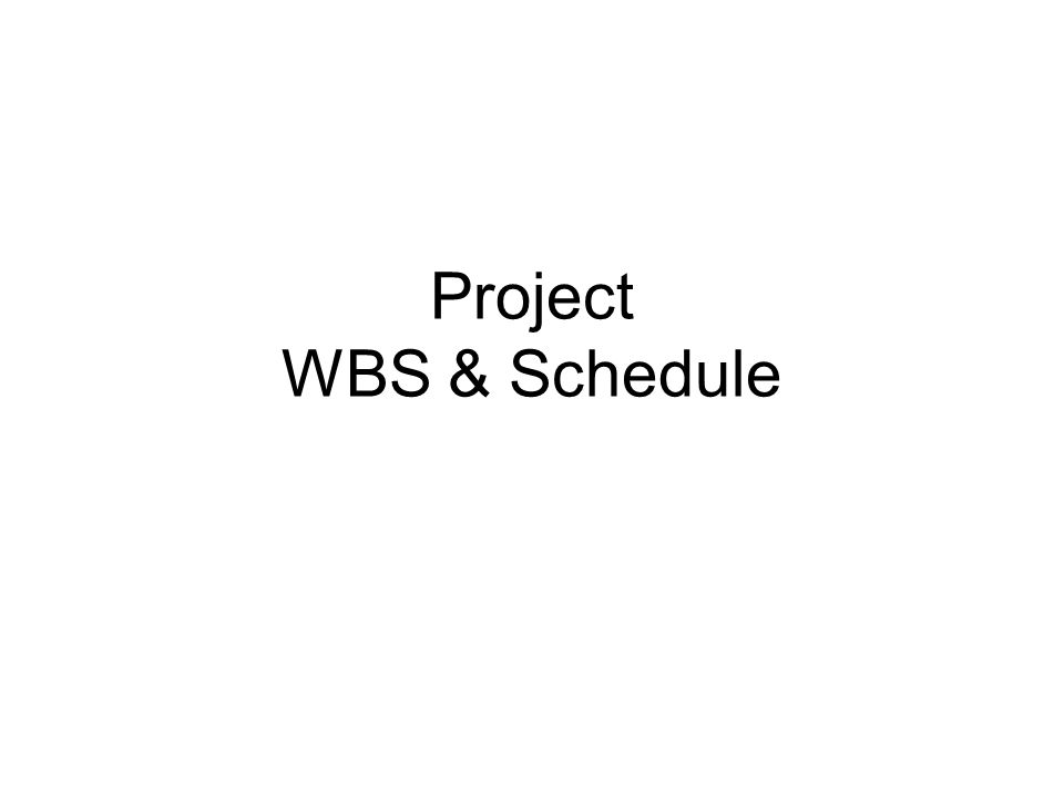Project WBS & Schedule