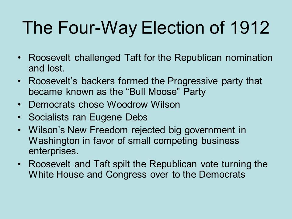 The Four-Way Election of 1912 Roosevelt challenged Taft for the Republican nomination and lost. Roosevelt's backers formed the Progressive party that