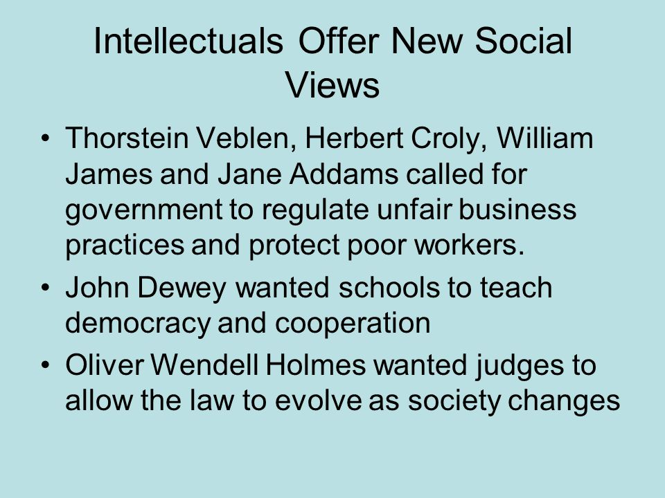Intellectuals Offer New Social Views Thorstein Veblen, Herbert Croly, William James and Jane Addams called for government to regulate unfair business