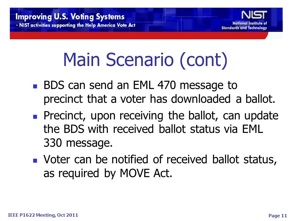 IEEE P1622 Meeting, Oct 2011 Page 11 Main Scenario (cont) BDS can send an EML 470 message to precinct that a voter has downloaded a ballot.