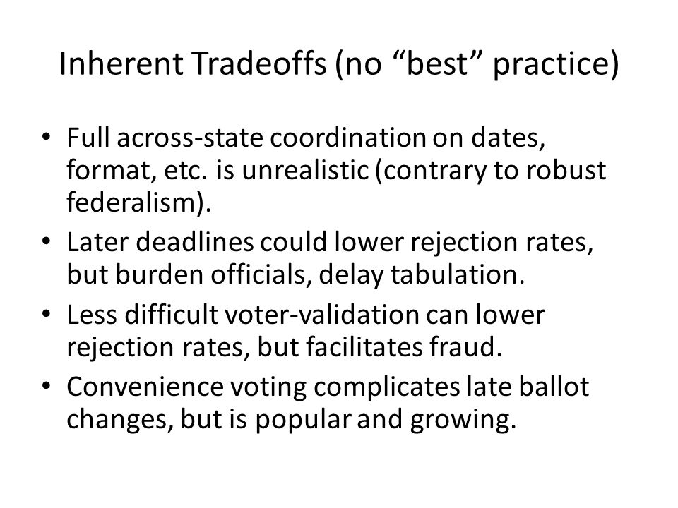 Inherent Tradeoffs (no best practice) Full across-state coordination on dates, format, etc.