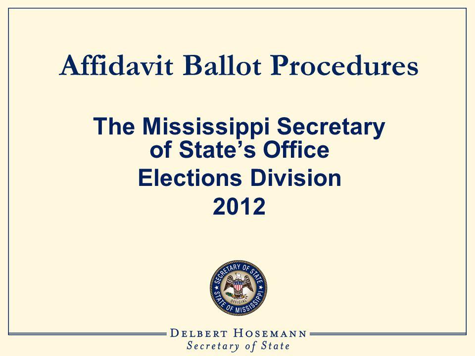 Completing Affidavit Ballot Envelope The voter signs the envelope.