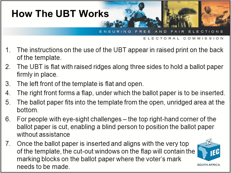 How The UBT Works 1.The instructions on the use of the UBT appear in raised print on the back of the template. 2.The UBT is flat with raised ridges alo