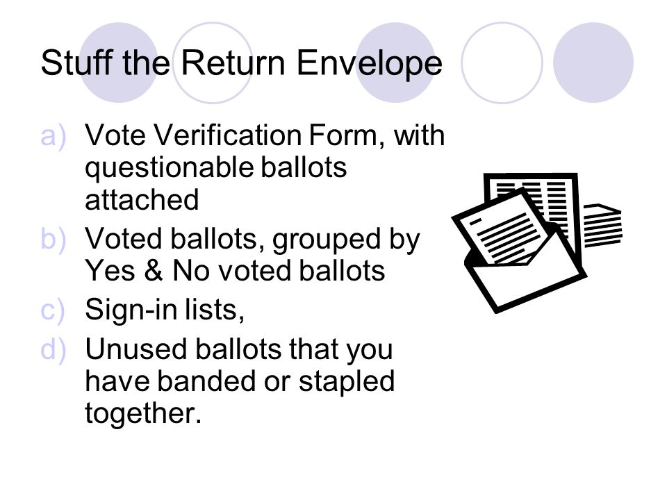 Stuff the Return Envelope a)Vote Verification Form, with questionable ballots attached b)Voted ballots, grouped by Yes & No voted ballots c)Sign-in lists, d)Unused ballots that you have banded or stapled together.