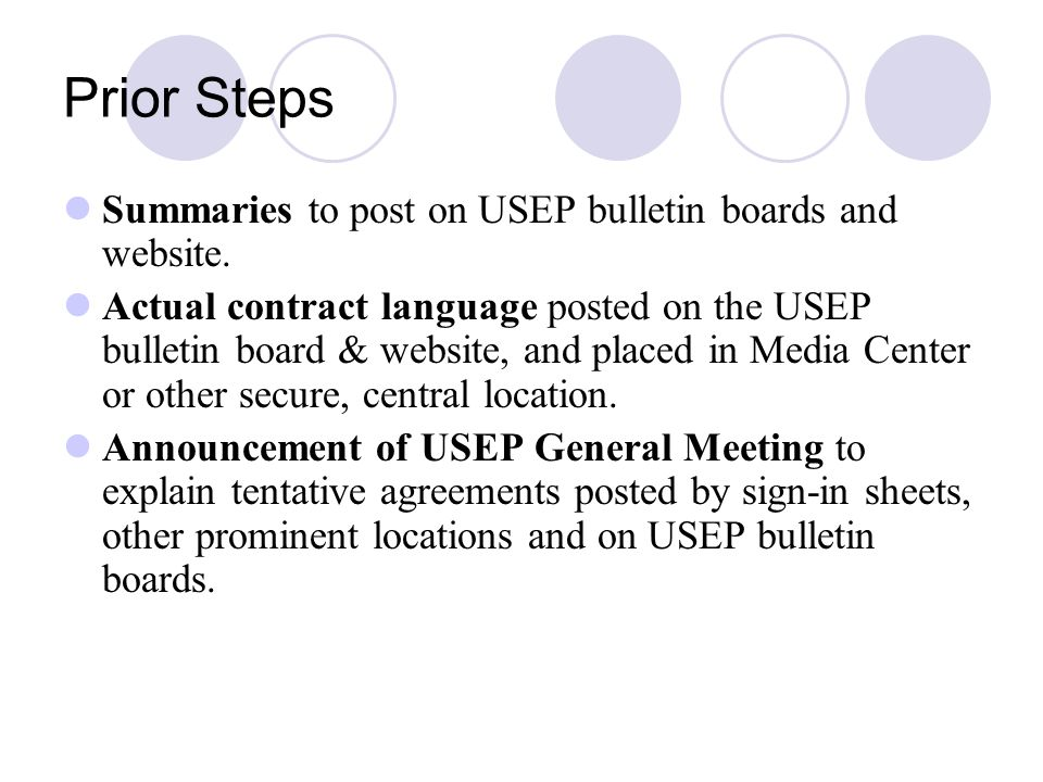 Prior Steps Summaries to post on USEP bulletin boards and website.