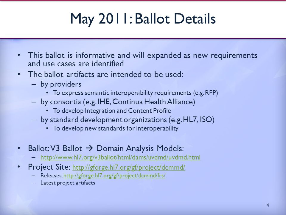 May 2011: Ballot Details This ballot is informative and will expanded as new requirements and use cases are identified The ballot artifacts are intended to be used: – by providers To express semantic interoperability requirements (e.g.