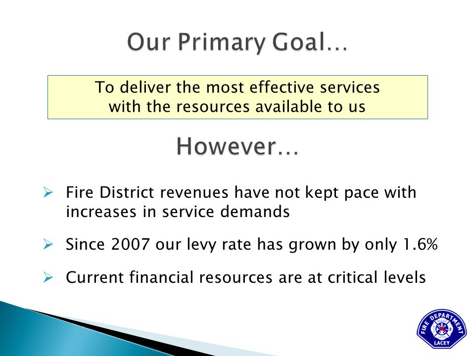 To deliver the most effective services with the resources available to us  Fire District revenues have not kept pace with increases in service demands  Since 2007 our levy rate has grown by only 1.6%  Current financial resources are at critical levels