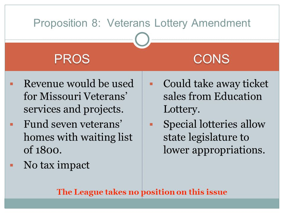 PROS CONS  Revenue would be used for Missouri Veterans' services and projects.