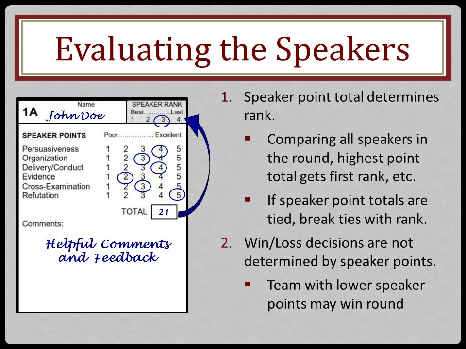 Evaluating the Speakers John Doe Helpful Comments and Feedback 21 1.Speaker point total determines rank.