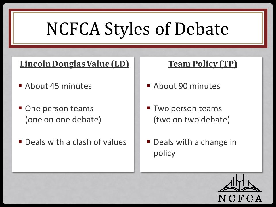 NCFCA Styles of Debate Team Policy (TP)  About 90 minutes  Two person teams (two on two debate)  Deals with a change in policy Team Policy (TP)  A