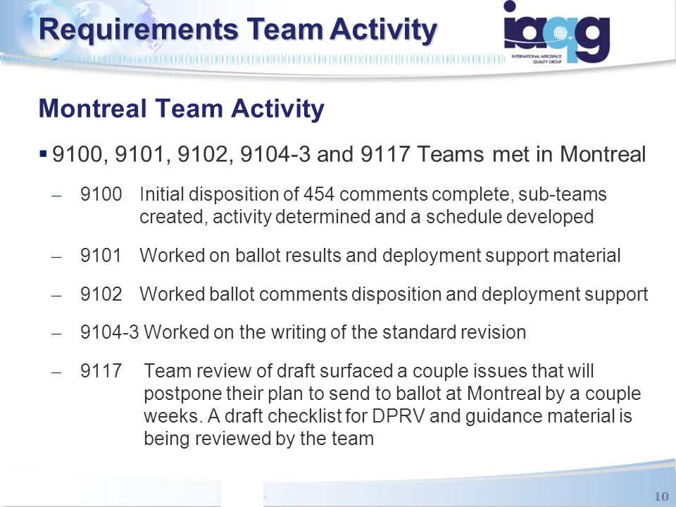 Montreal Team Activity  9100, 9101, 9102, 9104-3 and 9117 Teams met in Montreal ̶ 9100 Initial disposition of 454 comments complete, sub-teams create