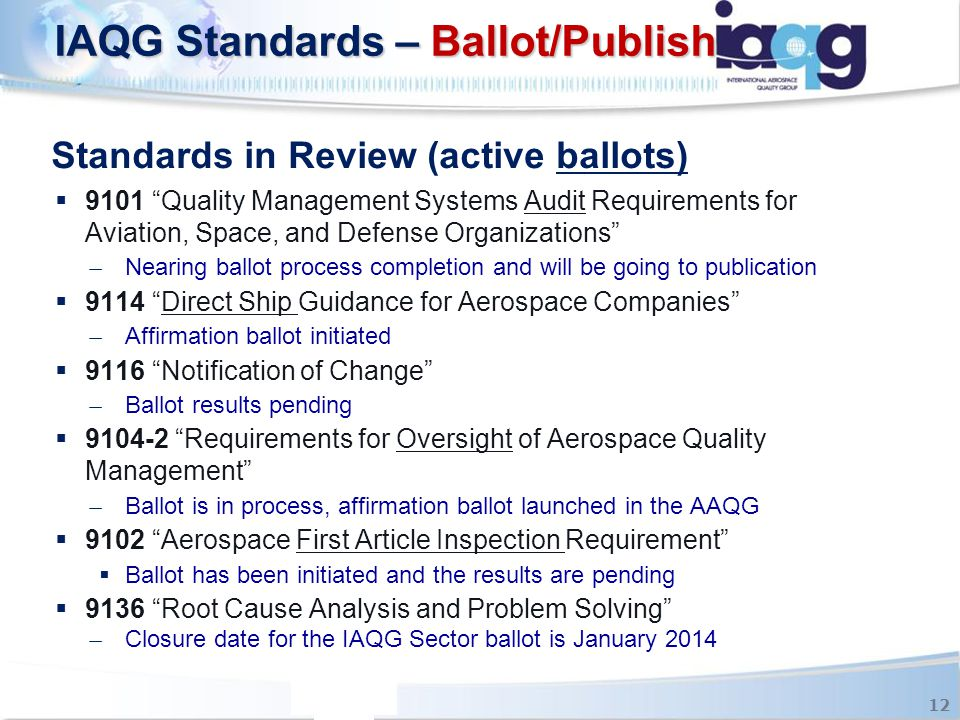 """Standards in Review (active ballots)  9101 """"Quality Management Systems Audit Requirements for Aviation, Space, and Defense Organizations"""" ̶ Nearing b"""