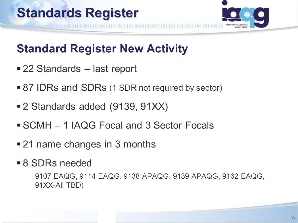 Standard Register New Activity  22 Standards – last report  87 IDRs and SDRs (1 SDR not required by sector)  2 Standards added (9139, 91XX)  SCMH