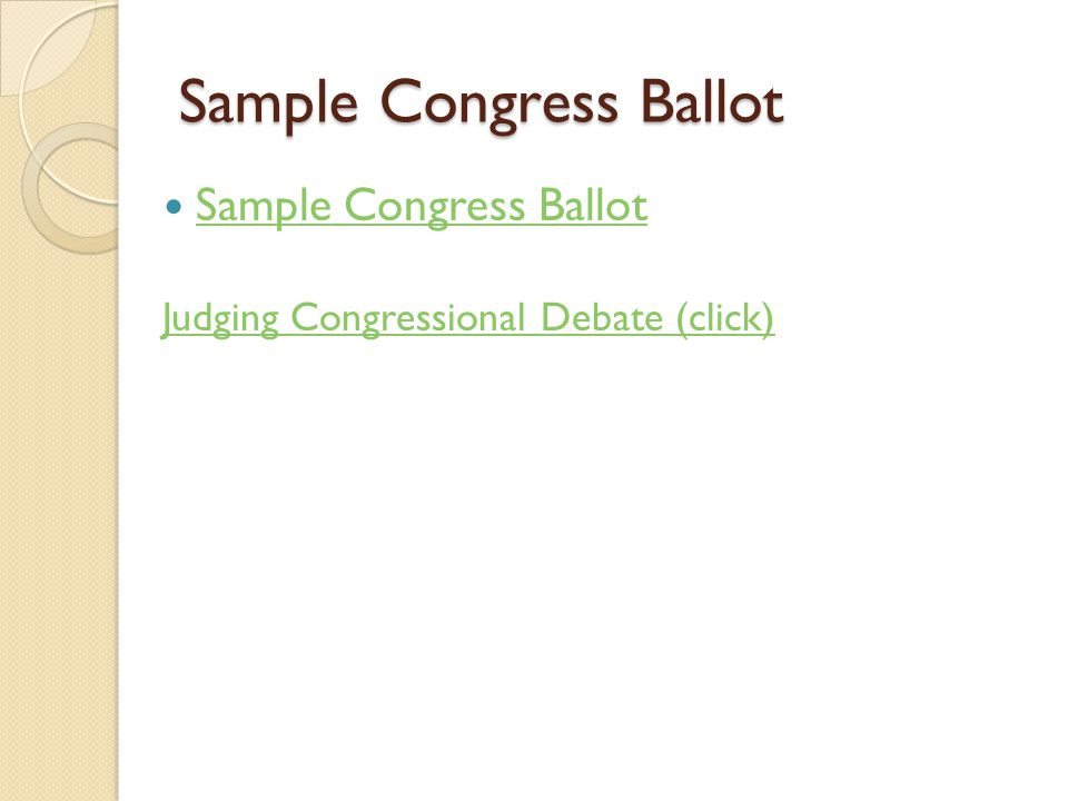 Sample Congress Ballot Judging Congressional Debate (click)