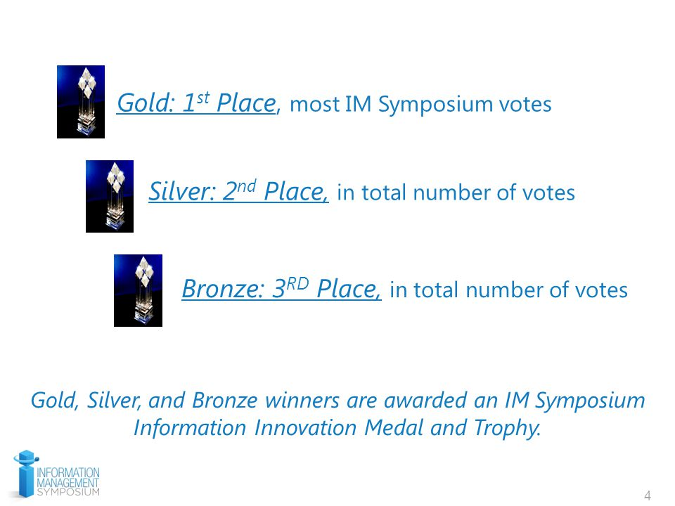 4 Gold: 1 st Place, most IM Symposium votes Silver: 2 nd Place, in total number of votes Bronze: 3 RD Place, in total number of votes Gold, Silver, and Bronze winners are awarded an IM Symposium Information Innovation Medal and Trophy.