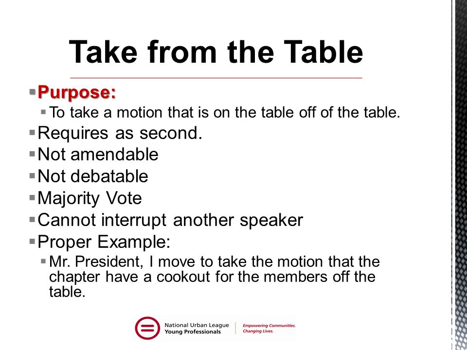  Purpose:  To take a motion that is on the table off of the table.
