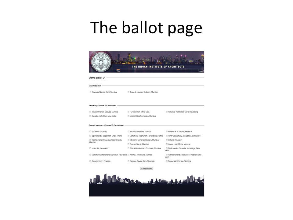 The ballot page