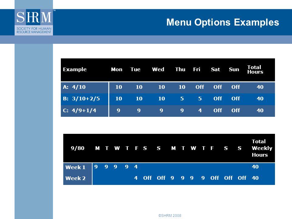 ©SHRM 2008 Menu Options Examples ExampleMonTueWedThuFriSatSun Total Hours A: 4/1010 Off 40 B: 3/10+2/510 55Off 40 C: 4/9+1/499994Off 40 9/80MTWTFSSMTW