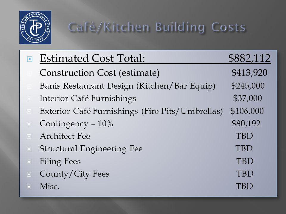  Estimated Cost Total: $882,112  Construction Cost (estimate) $413,920  Banis Restaurant Design (Kitchen/Bar Equip) $245,000  Interior Café Furnishings $37,000  Exterior Café Furnishings (Fire Pits/Umbrellas) $106,000  Contingency – 10% $80,192  Architect Fee TBD  Structural Engineering Fee TBD  Filing Fees TBD  County/City Fees TBD  Misc.