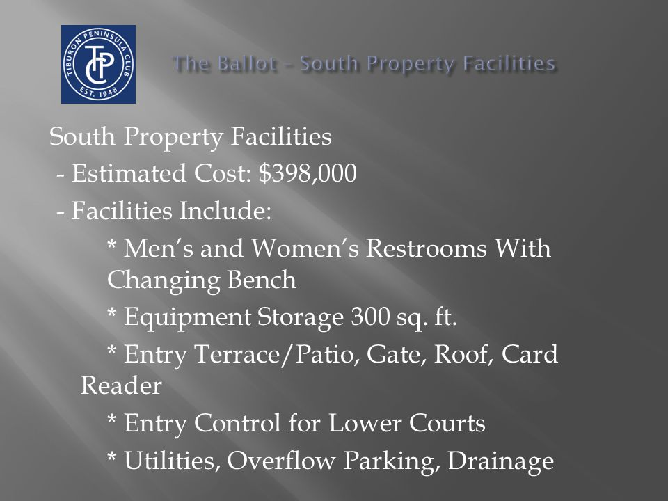 South Property Facilities - Estimated Cost: $398,000 - Facilities Include: * Men's and Women's Restrooms With Changing Bench * Equipment Storage 300 sq.