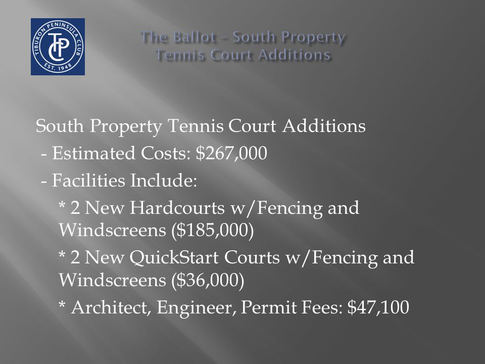 South Property Tennis Court Additions - Estimated Costs: $267,000 - Facilities Include: * 2 New Hardcourts w/Fencing and Windscreens ($185,000) * 2 Ne