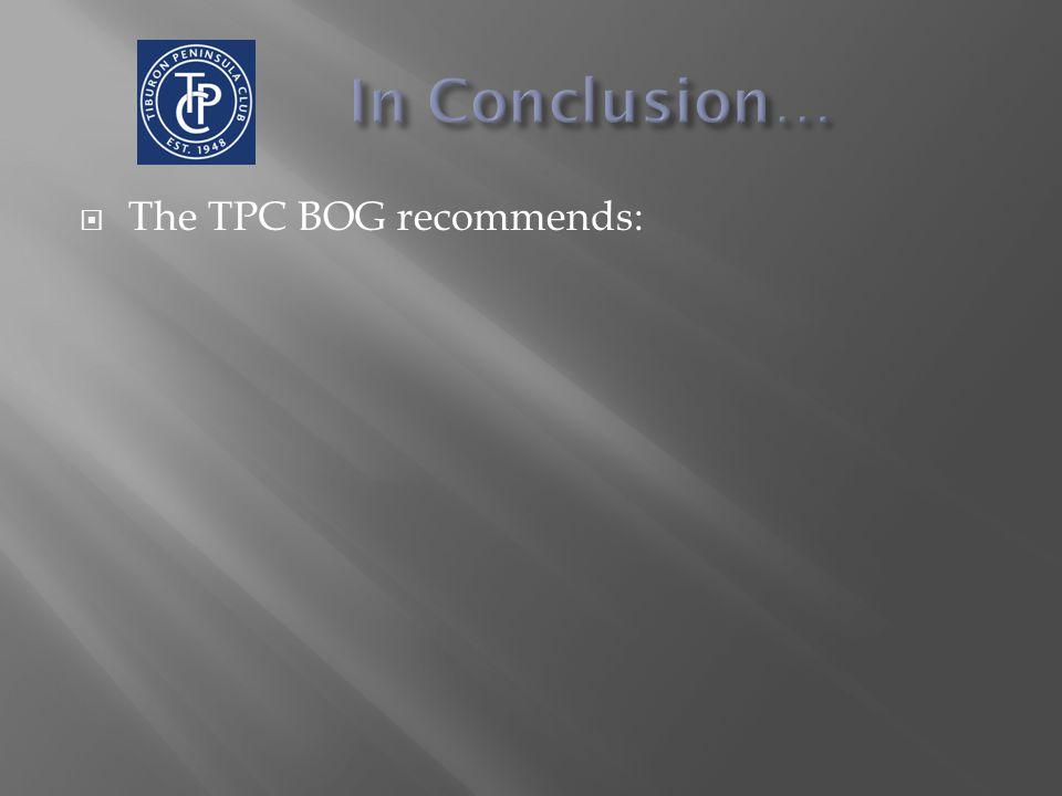 The TPC BOG recommends: