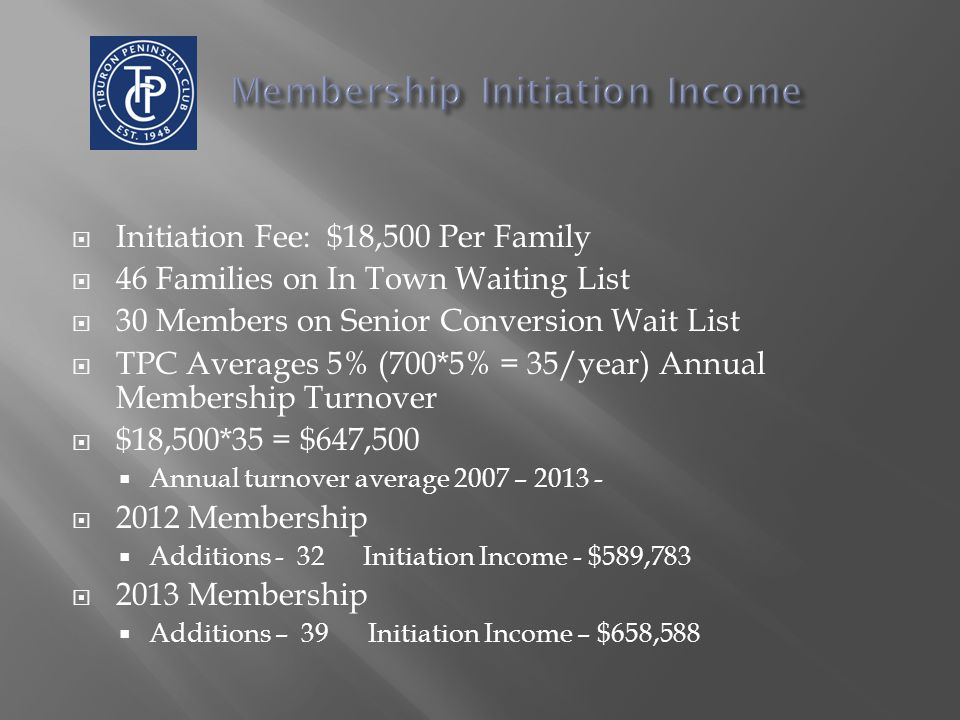  Initiation Fee: $18,500 Per Family  46 Families on In Town Waiting List  30 Members on Senior Conversion Wait List  TPC Averages 5% (700*5% = 35/year) Annual Membership Turnover  $18,500*35 = $647,500  Annual turnover average 2007 – 2013 -  2012 Membership  Additions - 32 Initiation Income - $589,783  2013 Membership  Additions – 39 Initiation Income – $658,588