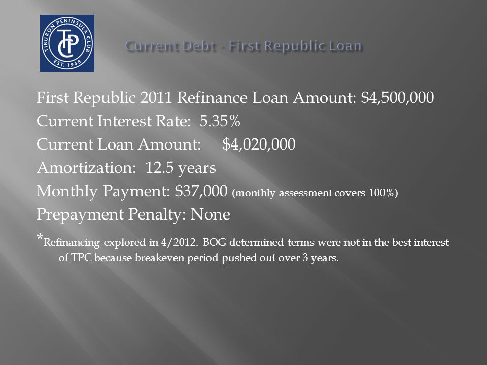 First Republic 2011 Refinance Loan Amount: $4,500,000 Current Interest Rate: 5.35% Current Loan Amount: $4,020,000 Amortization: 12.5 years Monthly Pa
