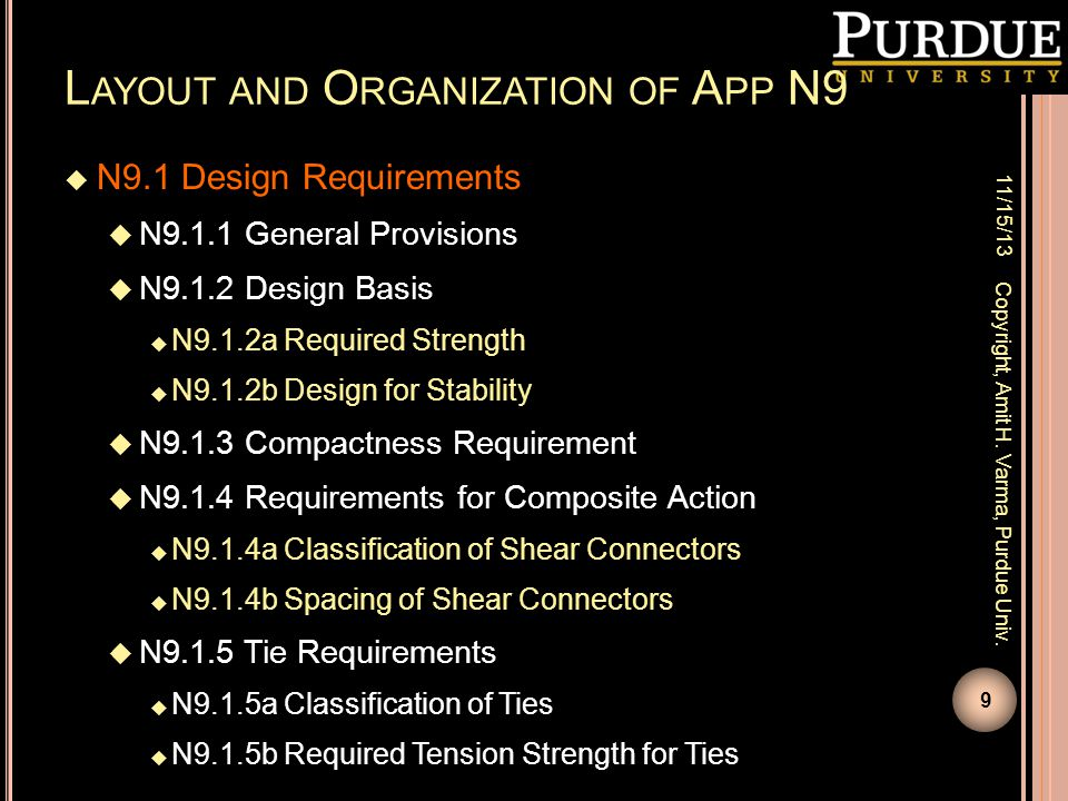 L AYOUT AND O RGANIZATION OF A PP N9  N9.1 Design Requirements  N9.1.1 General Provisions  N9.1.2 Design Basis  N9.1.2a Required Strength  N9.1.2